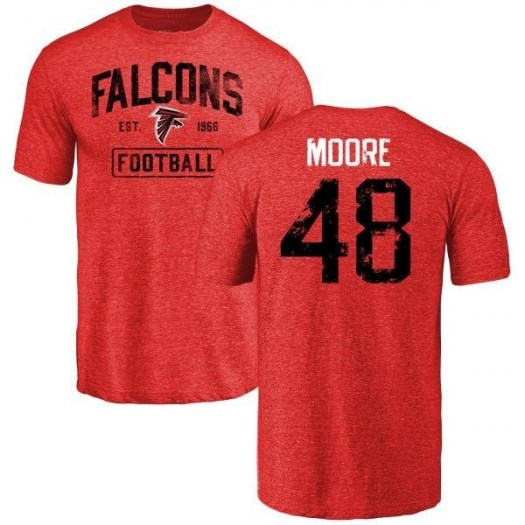 Jordan Moore Atlanta Falcons Men's Red Pro Line by Branded Distressed Name & Number Tri-Blend T-Shirt -