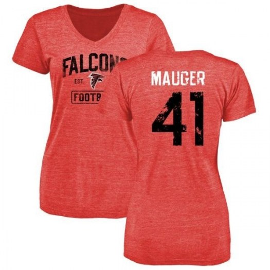 Quincy Mauger Atlanta Falcons Women's Red Pro Line by Branded Distressed Name & Number Tri-Blend T-Shirt -