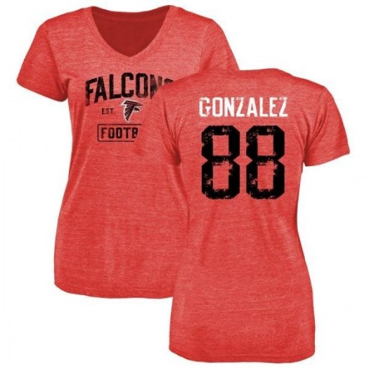 Tony Gonzalez Atlanta Falcons Women's Red Pro Line by Branded Distressed Name & Number Tri-Blend T-Shirt -